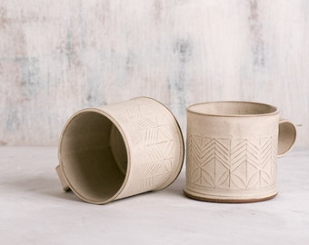 Ceramic mug, White coffee cup, Modern tea Cup, White Ceramic Cup, Minimalist coffee cup, Chocolate cup, Modern white ceramics, SET OF TWO