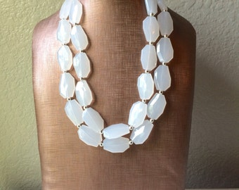 White Beaded Statement Necklace, Bridesmaid Chunky Necklace, Everyday Casual Affordable Jewelry
