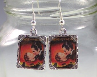 Gone with the Wind Earrings Movie Picture Earrings Silver Movie Civil War