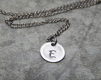 silver circle Initial necklace, tiny letter necklace, sterling silver, tiny initial circle necklace, disc initial necklace, oxidized
