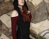 Sorceress Hoodie Holster Vest in Organic Cotton Soy with Side Pockets and Neck Clasp Option, Festival Couture, Sexy Witch, Goddess Awakened