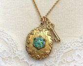 Vintage Locket, Oval Locket with Aquamarines, Locket and Key Necklace,  Wedding Locket, Gift for Her