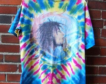 "80s/90s Super Distressed Bob Marley ""Ganja"" Themed Tie Dye T-Shirt"