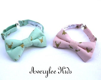 Easter Boys Bow Tie, Buck Bow Tie, Antler Boys Bow Tie, Ring Bearer, Gold Deer Bowtie, Mint Green Bowtie, Pink and Gold  Bowties for Boys