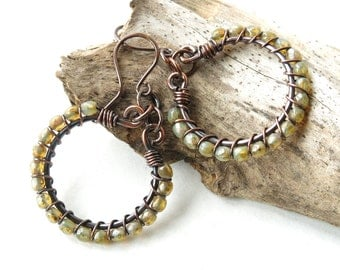 Beaded hoop earrings - copper wire wrapped opal faceted fire polished Picasso glass beads