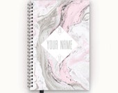 2016 2017 Blush Pink and Stone Grey Marble Personalized To Do List Wire Bound Printed Agenda