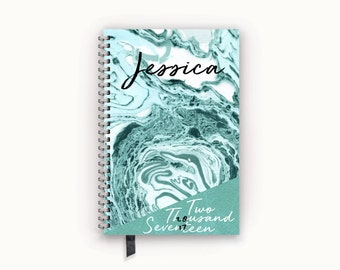 Personalized Planner Pool Blue Marble Notebook Appointment 2017 Calendar