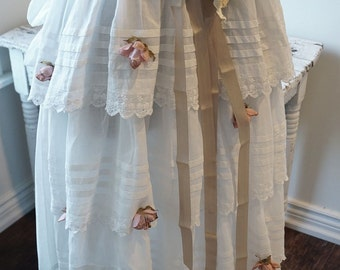 White cotton petticoat bustle slip shabby cottage chic wall hanging or mannequins millinery flowers farmhouse decor anita spero design