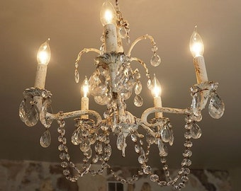 Distressed crystal chandelier lighting shabby cottage chic rusty white ceiling fixture crystal garland home decor anita spero design