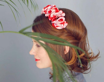 Red silk flower crown with white and pink flower pattern for women / wedding & party floral crown