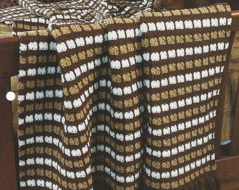 Pattern Afghan Blanket Crochet Cafe Au Lait - Annie's Crochet Quilt Afghan - Home Decor, Bedspread, Couch Sofa Throw, Bedding, Stripe Afghan