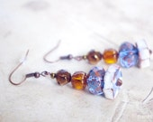 Blue Brown earrings / cute jewelry / Clear Glass bead and ceramic / gift for her