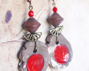 Brown Red earrings, Rough freeform, natural jewelry, round shaped, archaic pottery, primal design, rudimentary, red dark brown