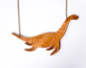 Plesiosaur Skeleton Necklace. Dinosaur of the Sea. Bone Jewellery. Skeleton Necklace. Laser Cut Wood Dinosaur Necklace. Statement Necklace.