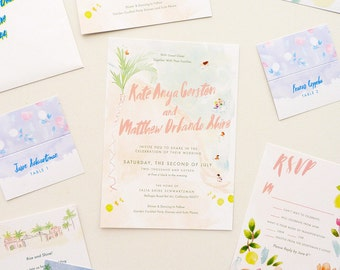Summer Beach party custom wedding stationery for L.A. wedding ; watercolor invitations, rsvp, menu, programs, table numbers and escort cards