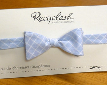 Bowtie (tie by yourself), white and blue check pattern