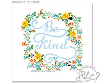 "Typography and floral modern ""Be Kind"" Cross Stitch Pattern. Digital Download PDF."