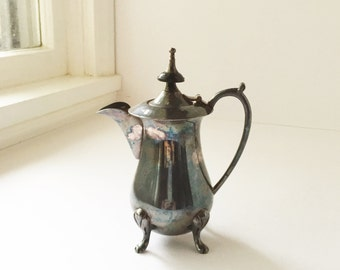 Vintage Plated Creamer or Small Coffee Pot, EPNS Electro Plated Nickel Silver Mini Coffee Pot With Black Finial