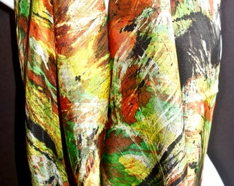 Multi-colored Silk Painting / One of a kind square SILK SCARF for Women. Hand Painted Silk Scarf by New York Artist Joan Reese/100% Silk