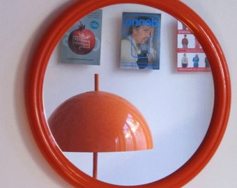 Vintage Bright Orange Large Round Mirror from the 70s