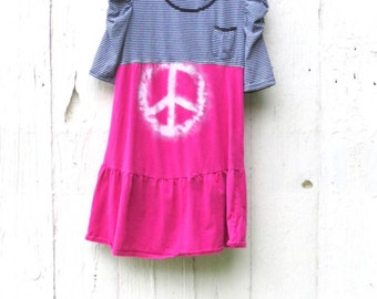 Hippie Dress, Upcycled Dress, Peace sign, Repurposed clothing for women, Boho dress, Eco clothes, bohemian dress, free people inspired dress