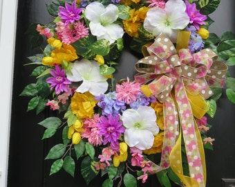 XL Summer Wreath, Summer Door Wreaths, Wreath for Front Door, Summer Wreaths, Luxury Wreath, Summer Front Door Wreath, Silk Floral Wreath