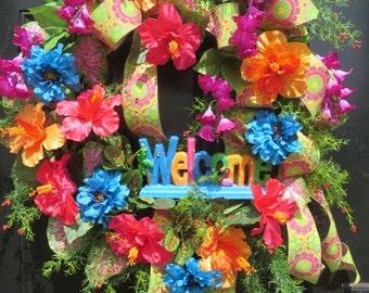 Beach Wreath, Welcome Wreath, Coastal Wreath, Summer Door Wreath, Tropical Wreath Front Door, Tropical Door Wreath, Front Door Wreath