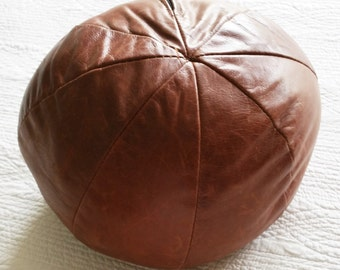 Vintage Chocolate Brown Distressed Leather Pillow, Olives and Doves