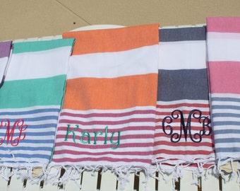 Monogram Beach Towel Cabana Stripe Personalized Monogrammed Gift