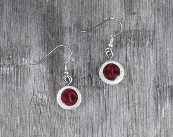 Big round earrings resin bourgogne - Silver 925