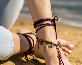 Boho barefoot sandals Beach wedding Bottomless sandals Foot jewelry Soleless sandals Bare foot sandals Anklet Festival clothing Feathers