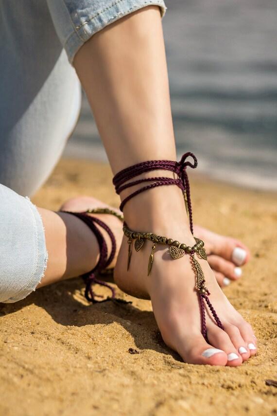 Boho Barefoot Sandals Beach Wedding Bottomless Sandals Foot