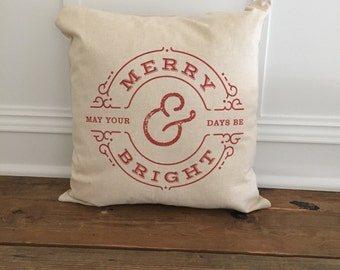 RED Merry & Bright Pillow Cover