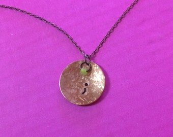 Semicolon Necklace, Hand Stamped Copper Charm Necklace, Semicolon Theme Necklace, Necklace, semicolon movement
