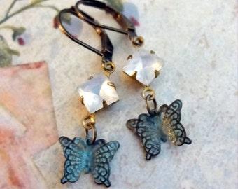 Verdigris Butterfly Earrings, Woodland Earrings, Mori Girl Earrings, Vintage Rhinestones, Shabby Chic Earrings, Bridal Jewelry