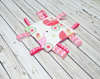 Crinkle Toy - Tag Toy- Baby Taggie - Crinkle Toy - Girl Pink Stroller Toy