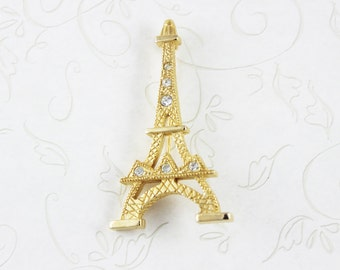 SALE Eiffel Tower Jewelry, Paris Vintage, Vintage Jewelry, Paris Jewelry, Cubic Zirconia, Travel Jewelry, Paris Pin, Paris France, Eiffel