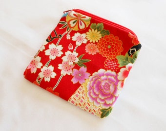 Coin Purse Japanese Cotton - Kimono Fabric - Zipper Coin Purse Pouch - Change Purse Makeup Bag - Sakura Cherry Blossoms