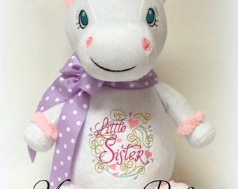 Jumbo Personalized White Unicorn Stuffed Animal - Little Sister - Ready To Ship