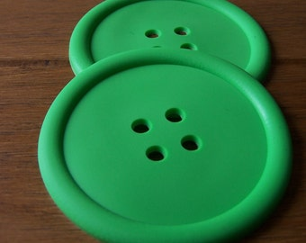 Pair of Button silicone placemat / fun / quirky - GREEN