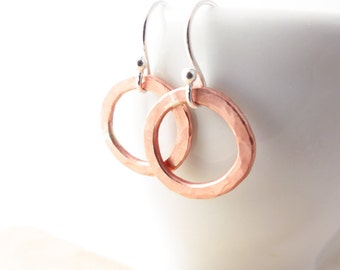 Hammered Copper Circle - Copper Drop Earrings - Rustic Earrings - Copper Hoop Earrings - Modern Minimal Earrings - Dangle Earrings