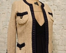 80s Adolfo Boucle Jacket - All Wool - Gold Buttons and Trim