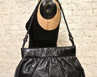 80s Large Black Ostrich, Snakeskin and Leather Shoulder Bag