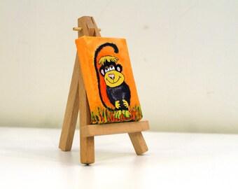 Monkey art Acrylic paintings on canvas Art Tiny original portrait Monkeys acrylic painting Acrylic canvas paintings Monkey nursery art