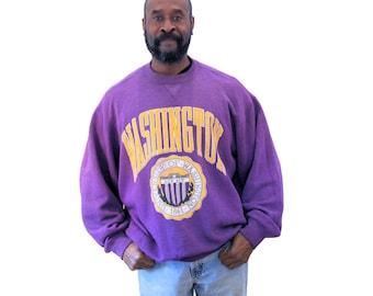 90s Sweatshirt, University of Washington Sweatshirt, Washington U Heavy Duty Sweatshirt, Lux Sit, Purple Sweatshirt, XXL