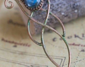 Green Copper Labradorite Bronze Pendant