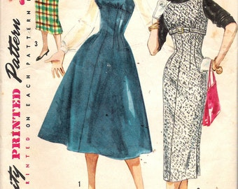 """Vintage  1956 Simplicity 1734 Teen Age & Junior Misses' Jumper with Two Skirts Sewing Pattern Size 12 Bust 32"""""""