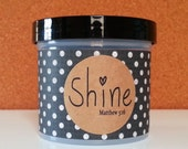 """Bible Verses in a Jar, Christian Gift With Choice of Scripture Cards, Graduation gift, Inspirational, Shine Matthew 5:16 - """"Vintage Dots"""""""