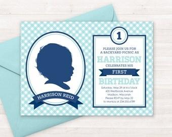 Picnic Birthday Invitation Kids, Custom Silhouette Invite PLUS Poster, First Birthday Invitation, Picnic Invitaition Gingham Invitation, Boy