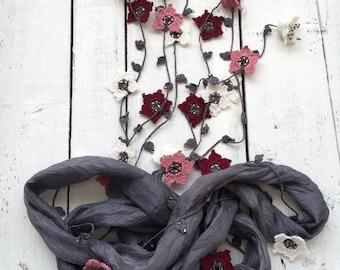 Silk Wrap Scarf, Gray Boho Silk Wrap Necklace Scarf, Crochet Oya Flowers Foulard Beaded Jewelry Necklace Scarf Beadwork ReddApple